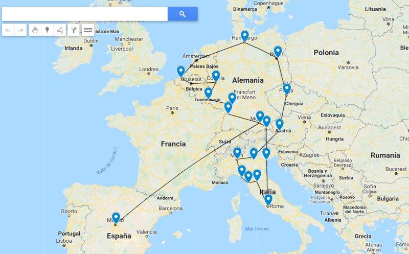 itinerario de viaje por Europa
